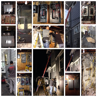 Residential installation of electrical box and re-wiring